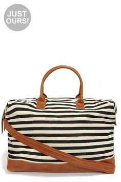 Cream and Black Striped Weekender Bag
