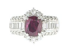 Ruby and Diamond Ring in Platinum- Beladora Antique and Estate Jewelry - Holiday Sale