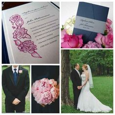 Blue-and-pink-chicago-wedding real wedding inspiration featuring illustrated wedding invitation with roses, peonies and calla lilies