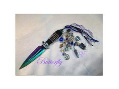 """Butterfly  6.5""""  Embellished Athame   Amethyst, Lapis  by EnchantingEliora"""