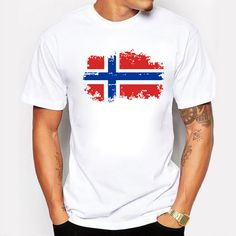 2017 New Arrivals Fashion European Cup Norway National Flag Design T shirts For Men 100% Cotton Short Top & Tee Nostalgic #Affiliate