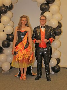 Stuck at Prom® Duck® Brand Duct Tape College Scholarship Contest - I love this dress! And the tux's flames on the sleeve!
