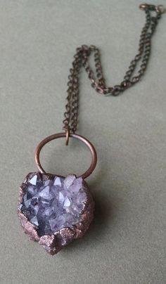 Raw Crystal Necklace OOAK Pendant Boho by PowerstoneJewelry1