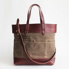 Fold-over Tote - Sage and Brown