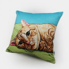 Cat throw pillow Hand Painted cushions for home decoration