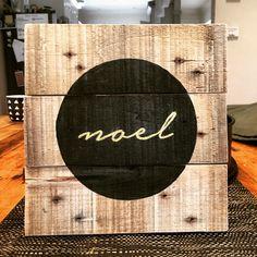 'Noel' black and gold pallet sign. Find The Vintage Pallet on Instagram and facebook. @thevintagepallet