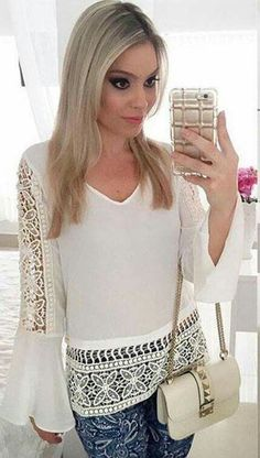 White top | blusas | Pinterest | Tunics, Western outfits and Clothing
