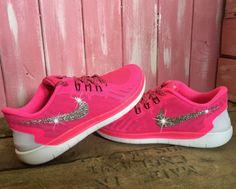 Glitter Sneakers For Cheap Nike - Blinged Girls  Womens Nike Free Running  Shoes Pink White Black Customized With Swarovski Crystal Rhinestones Bling  Nike b9c2309d3