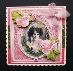vintage lady in shawl with pink roses in ornate frame 8x8 by Jennifer Smith-Kirk