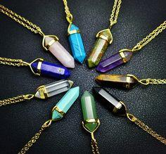 Nueva joyería de Moda de piedra natural de cuarzo amatista colgante de collar de turquesa ágata Regalos del Día de San Valentín para las mujeres chica N1600