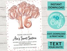 Sweet 16 Birthday Invitation Blush Pink Glitter Balloons, Editable, Printable Invite, Template Digital Download, Sweet Sixteen, Text Invite by PurplePaperGraphics on Etsy Sweet 16 Invitations, Printable Invitations, Birthday Invitations, Glitter Balloons, Pink Glitter, Sweet 16 Birthday, 16th Birthday, Sweet 16 Parties, Sweet Sixteen