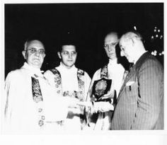 Very Reverend Elbert, Fr. Hoelle, Fr. Kobe, and Frank Duff, 1956 :: Marian Library Photograph Collection