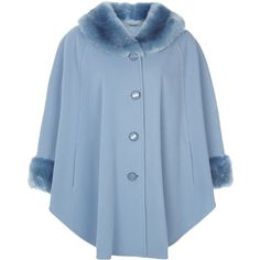 Jacques Vert Faux Fur Trim Cape, Powder Blue featuring polyvore women's fashion clothing outerwear cape tops coats jackets faux fur trim cape blue cape coat short cape coat plus size cape coat jacques vert