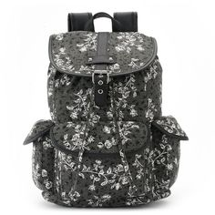 Candie's Brennan Floral Backpack (Black) ($30) ❤ liked on Polyvore featuring bags, backpacks, black, black backpack, pattern backpack, canvas bag, black canvas bag and black canvas backpack