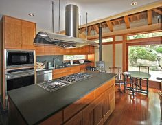 Cherry Cabinets And Slate Counters Design Ideas, Pictures, Remodel and Decor