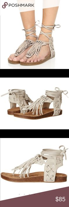 🎀🆕Sam Edelman Suede Velour Gladiator Sandals🎀 Adorable boho chic, new Sam Edelman fringe sandals! Put the finishing touch on your boho-chic ensemble in the on-trend Kyra fringe sandal. Suede and leather upper. Wraparound ankle strap with tie-up closure. Open toe. Thong-style design. Fringe detailing along vamp. Man-made lining. Molded footbed. Rubber sole. Imported. Product measurements were taken using size 8, width M. Please note that measurements may vary by size. Measurements: Heel…