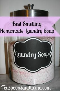 Teaspoons  Twine: Homemade Laundry Soap with free printable label