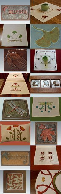 Craftsman Style Tile from Fay Jones Day Tile www.fayjonesday.com and Craftsman Style Hand Embroidery from Arts & Crafts Stitches www.acstitches.com See us also on Etsy