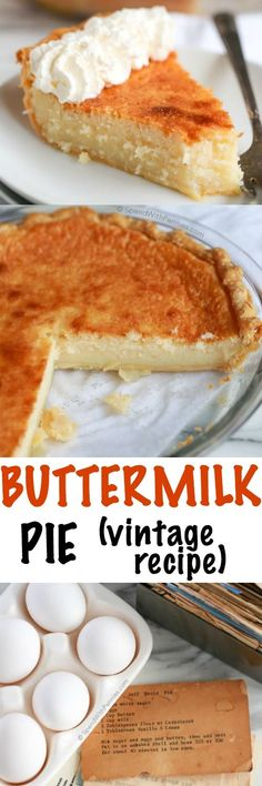 Buttermilk pie is an easy classic dessert made with simple pantry ingredients! The result is a deliciously comforting custard pie with a slightly caramelized topping. This pie will be one your family (Pantry Ingredients Recipes) Weight Watcher Desserts, Low Carb Dessert, Pie Dessert, Easy Desserts, Delicious Desserts, Yummy Food, Best Easy Dessert Recipes, Southern Desserts, Easy Pie Recipes
