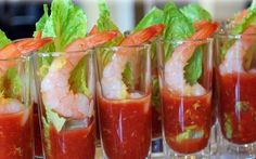 Shrimp Shooters with Homemade Cocktail Sauce- Amee's Savory Dish Finger Food Appetizers, Appetizers For Party, Appetizer Recipes, Christmas Party Food, Christmas Appetizers, Christmas Party Ideas For Adults, Shooter Recipes, Homemade Cocktail Sauce, Progressive Dinner