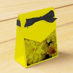 Yellow Mum Flowers Party Favor Boxes #flowers #partyideas #showerideas