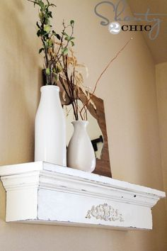 DIY Floating Shelves • Lots of Ideas & Tutorials! including this diy floating ledge project from 'shanty 2 chic'.