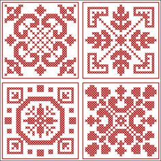 Four smaller squares | Chart for cross stitch or filet crochet.