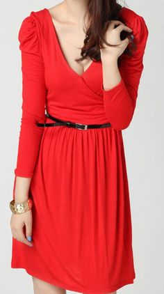 Red Cotton Blends V Neck Puff Sleeve Belt Pleated Wrap Dress