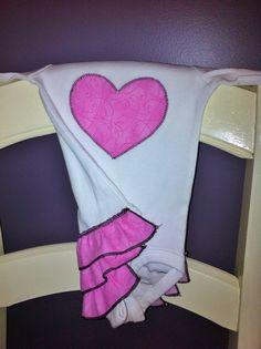 Pink White & Black ruffle bottom onesie with by HandmadeByLoloZ, $20.00