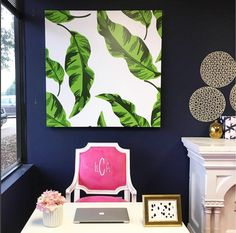 Create an inspiring work space. Our Savannah side chair and Banana Leaves canvas