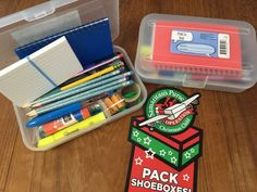 Pencil boxes from Staples. Similar ones sold at Dollar Tree. I love to fill them with school supplies! Operation Christmas Child, Pencil Boxes, Shoe Box, School Supplies, Charity, Packing, Purses, Dollar Tree, Children