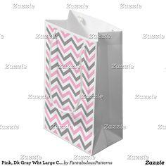 Pink, Dk Gray Wht Large Chevron ZigZag Pattern Small Gift Bag