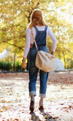 Berlin Zoologischer Garten in fall sunshine. Asos Crop top & jean overalls, Louis Vuitton Speedy damien azur, Bianco nude ankle boots -> pret-a-porter-sini.blogspot.fi/