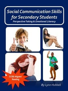 """""""Social Communication Skills for Secondary Students"""" supports the development of perspective taking and emotional literacy skills. It uses text as well as high interest images to give older students practice recognizing the feelings and emotions of others by considering both the context as well as visual cues such as body language and facial expressions. Scaffolds are built in to assist students in acquiring benchmark skills necessary to master a number of the Common Core Standards in…"""