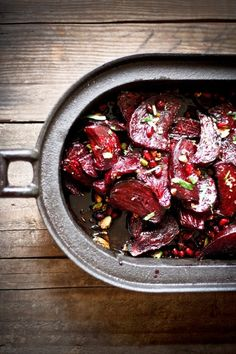 Moroccan Roasted Beets with pomegranate & pistachios--use balsamic reduction instead of balsamic with syrup