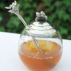 Glass Honey Pot with Bee Spoon $44.00 http://www.fancyflours.com/product/Glass-Honey-Pot-with-Bee-Spoon/s