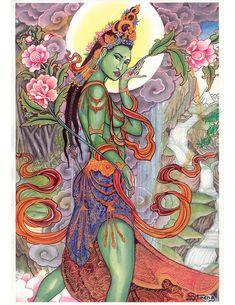 Affiche verte avec le tableau Standing Tara d'Aaron Staengl