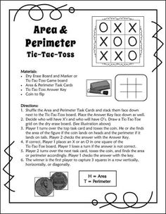 Area and Perimeter Tic-Tac-Toss - awesome review game! Includes task cards and directions. QR code answers available as a separate purchase. $ #LauraCandler