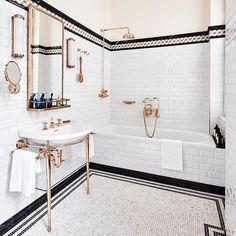 Bathroom decor, Bathroom decoration, Bathroom DIY and Crafts, Bathroom Interior design Modern Bathroom Tile, Bathroom Flooring, Bathroom Interior Design, Parisian Bathroom, Bathroom Fixtures, Master Bathroom, 1920s Bathroom, Rental Bathroom, Bathroom Cabinets