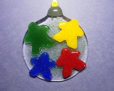 Unique glass art by LeavesOfGlassArt on Etsy Fused Glass Ornament: Cast Meeples tack-fused to a round base ornament Fused Glass Ornaments, My Workspace, Stained Glass Art, Tack, Art Projects, Christmas Bulbs, Handmade Items, Etsy Seller, Leaves
