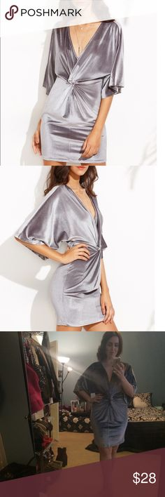 Deep V Silver Velvet Dress Pretty silver grey Velvet dress with a deep v neckline, short dohlman sleeves and twist detail. Great for holiday parties, winter weddings, New Years or date night. Juniors M. NWOT. Dresses Mini