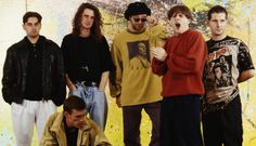 ORIGINAL SPIN: Happy Mondays circa 1990 (from left) are bassist Paul Ryder, dancer Bez, drummer Gary Whelan, guitarist Mark Day, singer Shaun Ryder and keyboardist Paul Davis. Photo: Getty Images