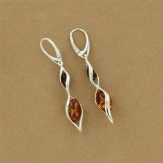 Amber Earrings: Sterling Silver Amber Oval Twist Earrings.