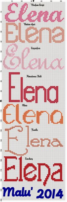 L'angolo di Malù 4 Cross Stitching, Cross Stitch Embroidery, Cross Stitch Letters, C2c, Creative Crafts, Projects To Try, Names, Words, Monograms