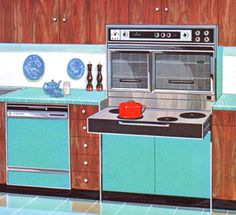 Nothing says early-to-mid-sixties quite as succinctly as turquoise and walnut.
