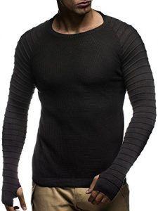 günstig kaufen | LEIF NELSON Herren Strickpullover Gesteppt Sweatshirt LN20714; Grš§e S, Schwarz |