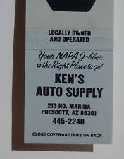 1970s? Matchbook NAPA Ken's Auto Supply Prescott AZ Yavapai Co Arizona
