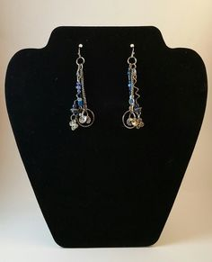up cycled silver and blue dangle earrings