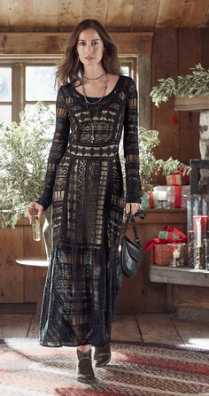 Roslyn Dress - embroidered and tiered maxi dress with lace. Otoño Invierno 18717260ca7