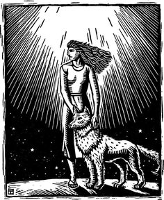 Women Who Run with the Wolves 6.5x 5.5, sheet size 9 x 7. Printed from a single engraved maple block. I print on an antique Challenge proof